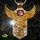 天使のシールドペンダントヘッドスタールビーSKYDIN 18金ゴールドバージョン アミュレット