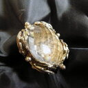 水晶(クリアクオーツ)大粒ファセットカットドーム型ジェムストーン 個性的なステートメントリング♪K.Angel's指輪ハンドクラフト、スターリングシルバー