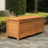 【1月末入荷予定】ボックスベンチストッカー(収納ボックス) ガーデンファニチャー 天然木 ブラウン(BB-W90BR) 900×330×405mm (約10kg)