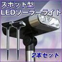 ソーラーライト LED ガーデンライト スポットライト 型 2本セット 差込式 屋外 照明 おしゃれ ガーデン ガーデンランプ エコ LEDライト