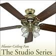 HUNTER シーリングファン スタジオシリーズ/ブライトブラス (53066 27182) コントローラーセット 照明キット付 ハンター ※4〜6坪用