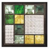 ステンドグラス 美しく強いピュアガラスの輝き SH-D08 200×200×18mm【幾何学】【ハーフミラー】