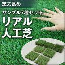[サンプル人工芝2] 人工芝 サンプルセット 4種 [芝質の違い3パターン + 芝丈長め] 【代金引換不可】