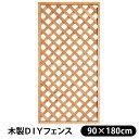 【送料無料】フェンス 木製 DIY ラティスフェンス ブラウン (90×180cm) LT-N-90-180目隠し 木製 板 格子 庭 メッシュ