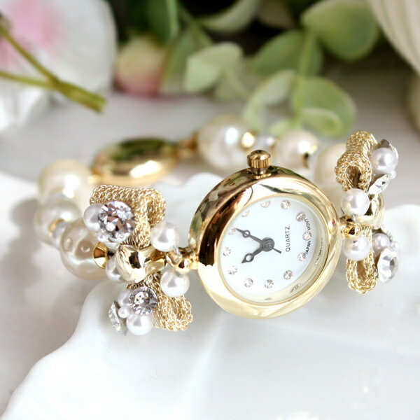 【送料無料】大小パールとビジューリボンの丸フェイス時計の商品画像