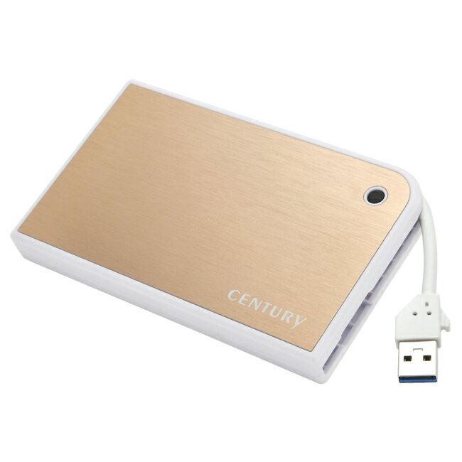 【センチュリー製品】 CENTURY(センチュリー) MOBILE BOX USB3.0接続 SATA6G 2.5インチHDD/SSDケース ゴールド (CMB25U3GD6G) 【送料無料※沖縄・離島・一部地域を除く】【RCP】