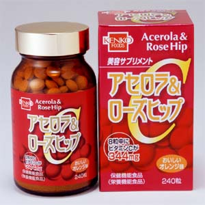 Health foods, Acerola and rosehips 250 mg x 240 grain