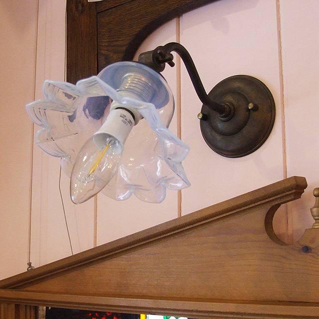 家具 照明 ランプ 真鍮 真ちゅう 壁 壁面用 パーツ ブラケット アンティーク調(内ネジ式)