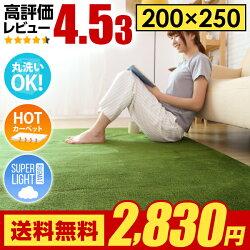 ラグラグマット送料無料rugカーペットグリーンも250×200200×250cm洗える滑り止め絨毯北欧夏用