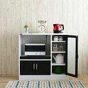 【送料無料】CT 食器棚 9090 ホワイトとブラウンのコントラストがスタイリッシュ 家電置き 家電...