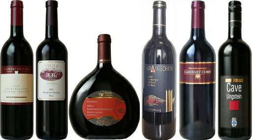 Germany red wine grape variety variously compared with a set of 6 [Herrenberg ホーニッヒゼッケル, グランチェン, ゾンメラッハ, ルッペルツベルガー, Villa Wolf