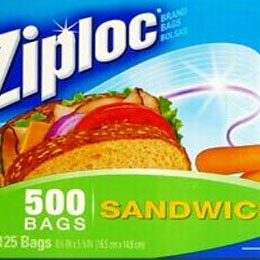 Ziploc zip-lock sandwich bag 16.5 cm x 14.9 cm 125 sheets x 4 boxes (500 back pieces) fs3gm