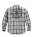 HARLEY-DAVIDSON(ハーレーダビッドソン)純正品・メンズ ロングスリーブ チェック シャツ・スカルデザインプリント・長袖ボタンシャツ