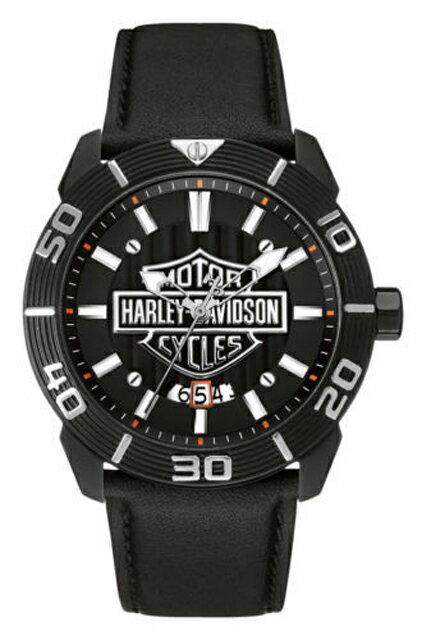 ハレーダビッドソン正規品【Harley Davidson by BULOVA】Men's Bulova Watch, Embossed Bar & Shield, Leather Strap・ブラックのムーブメントに輝くハーレーロゴ(アクセサリー・ウォッチ・腕時計)革ベルト:78B136 【Harley Davidson by BULOVA】Men's Bulova Watch, Embossed Bar & Shield, Leather Strap・腕時計・ハーレーダビッドソンロゴマーク