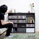 ブックシェルフ 本棚 cd 本 収納 ラック 棚 木製 幅120cm