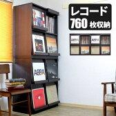 【代引き可】2列2段 レコードラック レコード収納 レコードケース LP収納 収納家具 4マス ディスプレイラック ディスプレーラック レコード棚 record rack DJブース DJ機器 フラップ収納 ブラウン ターンテーブル