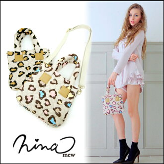 ニーナミュウ nina mew [3 months late we stock, I made out a stub or shopping in smaller 2-WAY mast ☆ ヒョウナイロンミニ BAG ladies animal school tote bag shoulder bag [2014 spring summer new]
