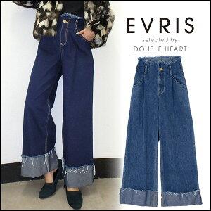 EVRIS エヴリス ウエストフリンジロールアップデニムワイドパンツ レディース ボトムス パンツ デニム ワイド ワイドパンツ ・・・