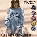 《即納》ルーカ RVCA 通販 BIG UNIVERSITY CREW レディース スウェット プルオーバー クルーネック パーカー トレーナー 裏起毛 シンプル ロゴ ベーシック 定番 人気 男女兼用 お揃い カップル ストリート カジュアル ba042-005