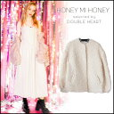 ハニーミーハニー HONEY MI HONEY volume sleeve coat ボリュームスリーブコート コート レディース ノーカラーコート 白 ピンク 16A-SW-06