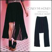 【最大2千円引きクーポン発行中】ハニーミーハニー HONEY MI HONEY side longpeplum skirt サイドロングペプラムスカート スカート ペプラム 無地 黒 16A-TA-04