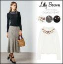 リリーブラウン Lily Brown 刺繍カットトップス レディース トップス 刺繍 長袖 フリル ハイネック LWCT165059