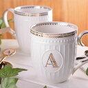 《DOUBLE HEARTセレクト》アルファベットマグ マグカップ カップ マグ 食器 イニシャル 陶磁器 キッチン コーヒーカップ スープマグ コーヒーマグ ...