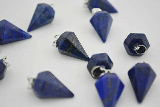 パワーストーン ラピス ペンダントトップ 角錐 銀 天然石 金具付 22mm 1個