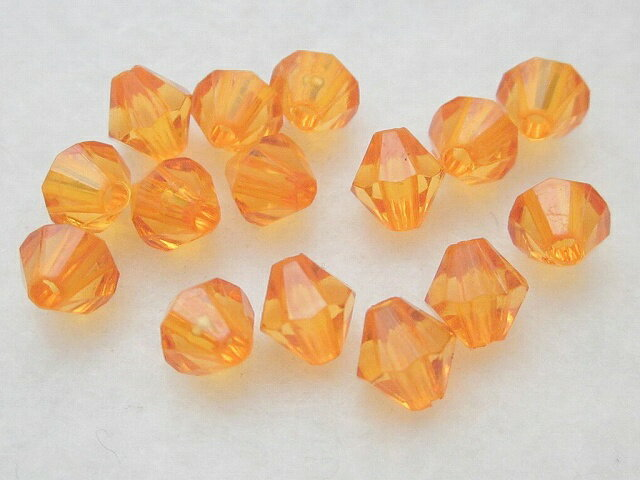 アクセサリーパーツ プラスチックビーズ ダイヤカット オレンジ 6mm 100個