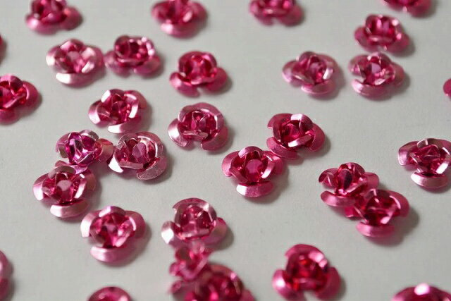 アクセサリーパーツ アルミ薔薇 ピンク レジン 10mm 12個