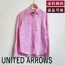 ショッピングローズ 【中古】ユナイテッドアローズ UNITED ARROWS シャツ ピンク リネン100% 長袖 Yシャツ D0126N002-D0428