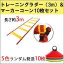 トレーニングラダー3m+マーカーコーン10枚セット キャリー...