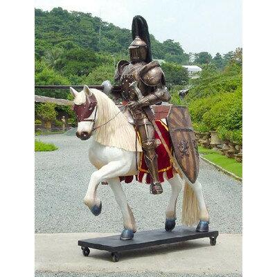 ナイト(騎士)・ブラインゴールドアーマー(茶金甲冑) on ホース 等身大フィギュア