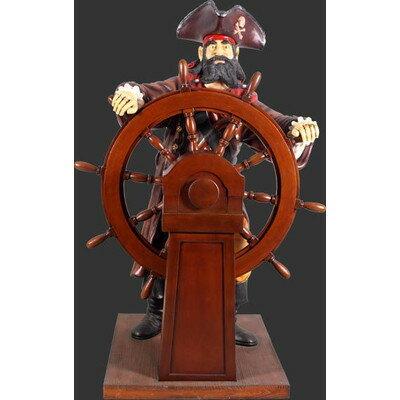 舵を執るキャプテンパイレーツ(海賊船長)・等身大フィギュア