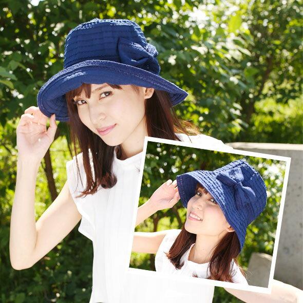 帽子 レディース ポケッタブルリボン カーリーハット (ホワイト ベージュ ブルー ブラック) レディース帽子 UVカット