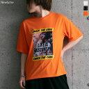 【メール便対応】Tシャツ グラフィックプリント 夏 クルーネック ロゴ 半袖 クール カジュアル ホワイト ブラック オレンジ 白 黒 M レディース 夢展望◆入荷済