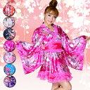 着物ドレス ミニ 浴衣 ゆかた キャバクラドレス 花魁 衣装 ダンス衣装 よさこい オーガンジーフリル和風柄着物ミニドレス