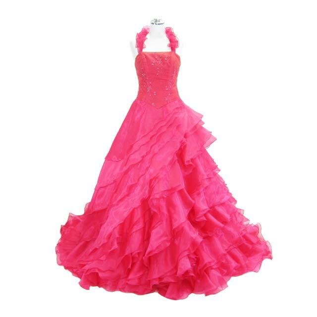 ウェディングドレス フォーマルドレス フリルトレーンロングドレス レッド 11号 L8