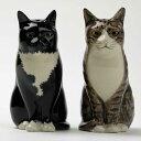 猫のソルト&ペッパーセット イギリス Quail Ceramics(クウェイル セラミックス)社製 動物 置物 オブジェ インテリア 北欧 モダン 磁器製 ヨーロッパ市場向け製品 ネコ好きさんに にゃんこ