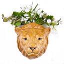 Lion Wall Vase アニマルヘッド ライオンイギリス Quail Ceramics 壁飾り 動物 壁掛け オブジェ ハンティングトロフィー インテリア 北欧 モダン 磁器 ヨーロッパ フラワー・グリーン ポット ウォールポケット