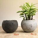 流木チップを混ぜることで風合いを高めました。和モダン植木鉢・球型L 高さ13cm※植物は商品には含まれません