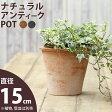 ナチュラル・アンティーク風 テラコッタ植木鉢直径15cm×高さ14cm【モスポット ※植物は別売り】