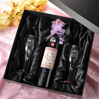 Excellent case present hello kitty commemorative bottle & noche wineglass set