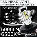 LEDヘッドライトH1/H3/H4/H7/H8/H11/HB3/HB4 新車検対応LUMILEDS製ZESチップ(第2世代)一体型 60W 12000ルーメン 6500K DC12/24V 2年保証 2本セット 二年保証 e-auto fun正規品 LM-T8