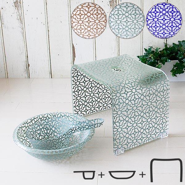 バスチェア&洗面器M&手桶「ティエナ」3点セット【送料無料 バスチェア セット アクリル 風呂椅子】