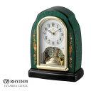 リズム時計 電波時計 置時計 花柄象嵌細工 インタルシア RHG-S41 4RY678HG05 お取り寄せ