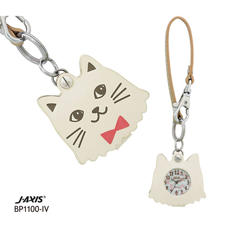 J-AXIS フックストラップ時計 ルーペ付き ポケットウォッチ 白猫 白ネコ BP1100-IV
