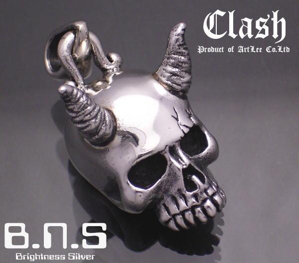 鬼の髑髏-Clash-鬼スカルペンダント シルバー925 (おにオニ,妖怪,和,オーガ)