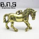 金色の駿馬 ホースペンダント ブラス 真鍮 (馬、競馬、サラブレッド、ウマ、horse、Equus caballus、動物)