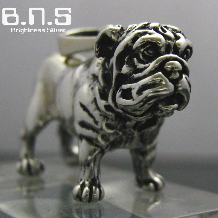 銀の犬 ブルドッグペンダント【毛並み表現なし】 シルバー925 Silver925 (ネックレス、犬、ドッグ、Dog、bulldog、動物)